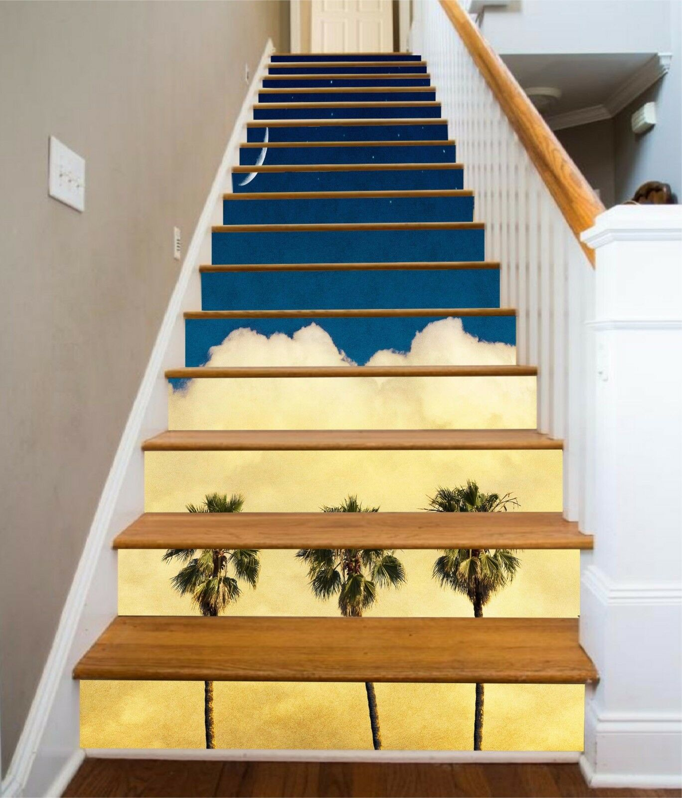 3D Trees Clouds 794 Stair Risers Decoration Photo Mural Vinyl Decal Wallpaper AU