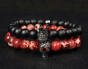 Men-Fashion-Lava-Stone-Beads-Black-CZ-Crown-amp-Red-Skull-Men-Charm-Bracelets-Gift