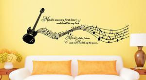 Music Notes Guitar Instrument Vinyl Sticker Wall Art Lounge Bedroom HS WA17