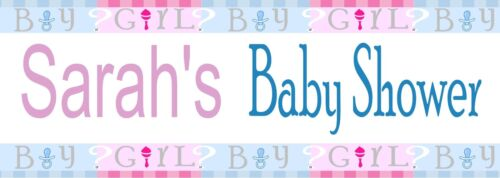 Add Name PERSONALISED Baby Shower or Gender Reveal Banner Pink Blue pack of 2