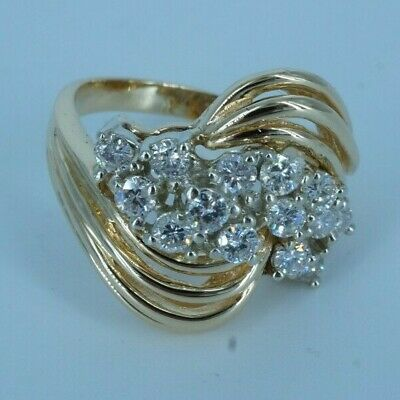 Women S 14k Gold Diamond Cluster Dinner Ring Ebay