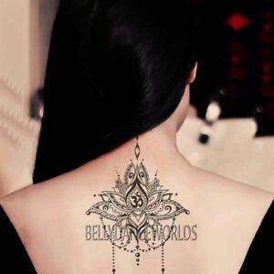 1 set of 3 tribal lotus flower om temporary tattoo back neck body image is loading 1 set of 3 tribal lotus flower om mightylinksfo