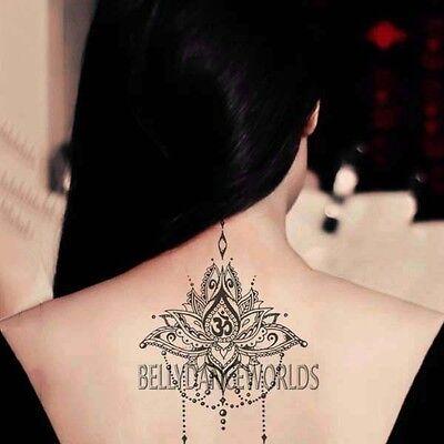 1 Set Of 3 Tribal Lotus Flower Om Temporary Tattoo Back Neck Body