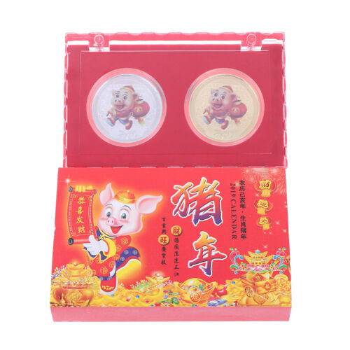 2X 2019 Pig Souvenir Coin Chinese Zodiac Commemorative Coin New Year Gift ER