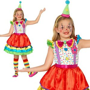 Girls-Deluxe-Clown-Costume-amp-Hat-Circus-World-Book-Week-Day-Fancy-Dress-S-L