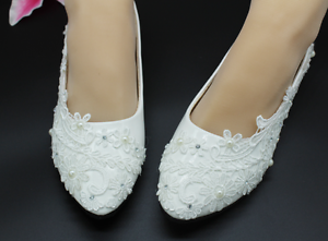 6b47b922a74b fashion Lace white ivory crystal Wedding shoes Bridal flats low high ...