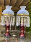 Antique Vintage Victorian Egermann Ruby Red Etched Glass Crystal Prisms Lamps