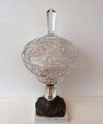 Decorative Arts Hearty Cut Glass Compote Vintage Candy Dish W/lid Marble & Brass Bass Victorian Style Bright Luster
