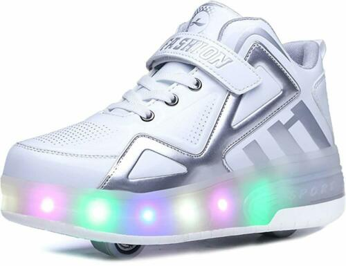 Boys Girls High-Top LED Light Up Double Wheels Roller Sneakers Skate Shoes