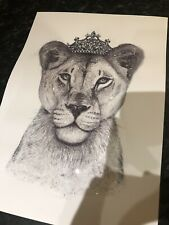 Lion and lion framed A4 prints with added diamanté's and glitter with any names