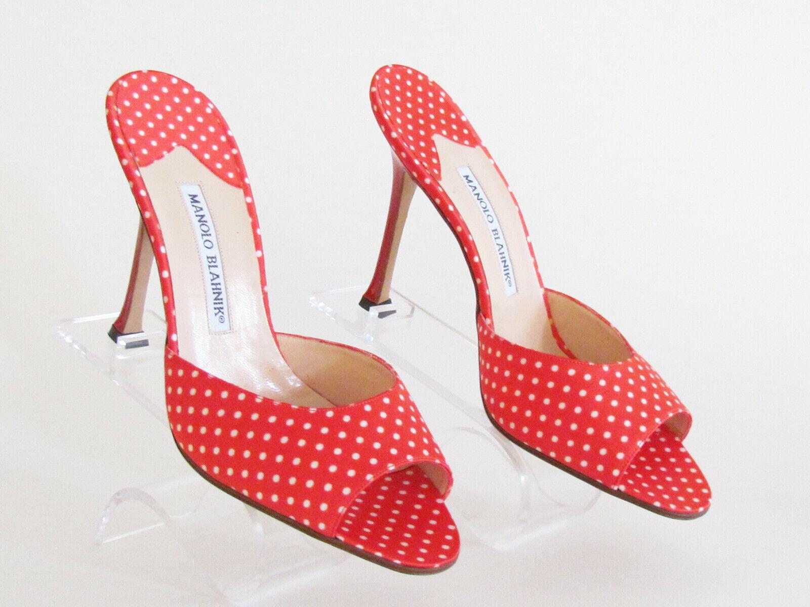 Damen Sandalen Schuhe Designer Manolo Blahnik Rot Weiß Gepunktet Pantoletten 8.5