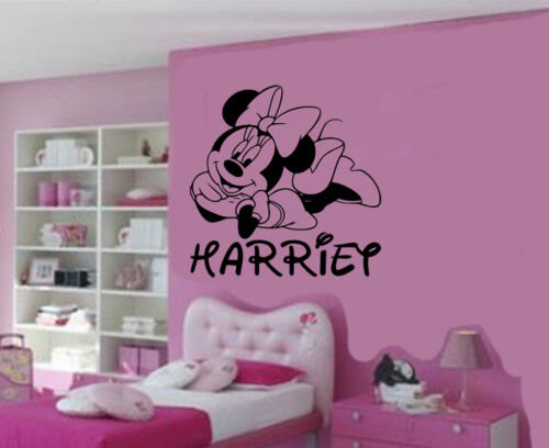 Personalised Minnie Mouse Removable Vinyl Wall Art Sticker//Decal Mural DIY
