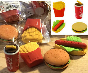 FAST-FOOD-ERASERS-RUBBER-STATIONERY-BOYS-GIRLS-PRIZES-BIRTHDAY-PARTY-BAG-FILLERS