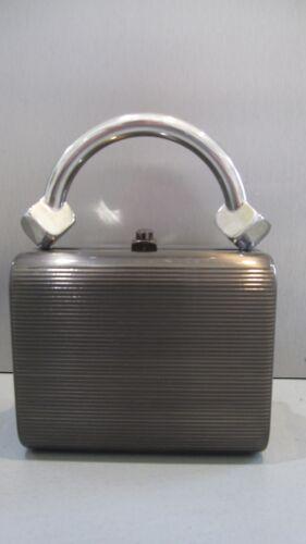 RODO Anthracite Metal Handbag Purse Bag Boxy Ribbe