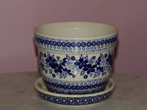 Polish Pottery Large Flower Pot With Saucer Unikat Signature Rembrandt In Blue Ebay