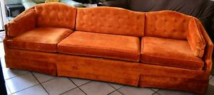 Image Is Loading Vintage 70s Tuffet Fabric Velvet Orange Long Couch