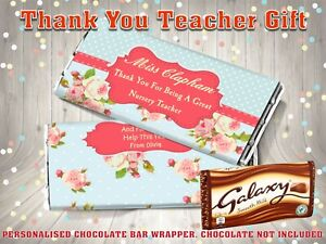 Personalised Thank You Teacher Galaxy Chocolate Bar Wrapper End of Term Gift