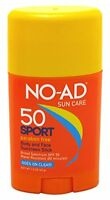5 Pack No-ad Sun Care Sport Spf 50 Sunscreen Stick Body And Face 1.5 Oz Each