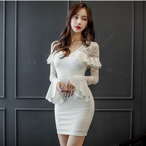 Tubino Slim Trasparente Bianco Morbido Donna Abito Vestito Elegante 4978 zUqItt