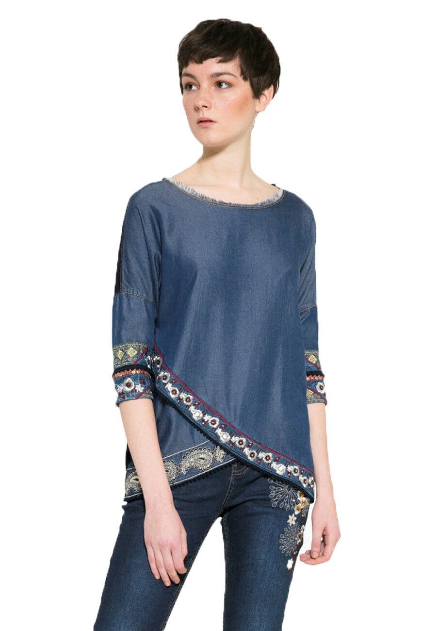 Desigual Blau Asymmetric Embroiderot Hem Exotic Jasper Top XS-XXL UK8-18 RP74