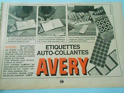 Publicité 1966 Etiquettes Auto Collantes Avery Nourishing Blood And Adjusting Spirit Objets Publicitaires