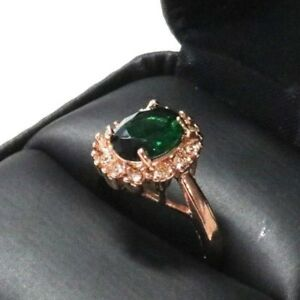 2-Ct-Oval-Green-Emerald-Ring-Women-Wedding-Jewelry-Gift-14K-Rose-Gold-Plated
