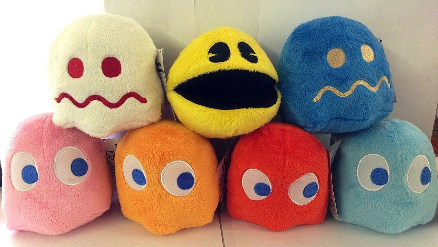 Set of 7 toys toys toys Pac-man plush 4'' each.Collectible.Licensed.Pac man.NWT.Christmas 0d2b99