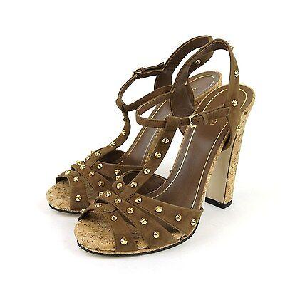 $895 New Gucci Jacquelyne Gold Studs Suede Platform Sandal, Brown, 310349 2527