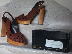 dcba0ae84 Biba Tan Brown Laser Cut Nubuck Suede Platform Sandals Shoes Size 40 ...