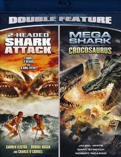 2-Headed Shark Attack / MEGA SHARK VS CROCOSAURUS (BLU-RAY) LN Disc + Cover Art