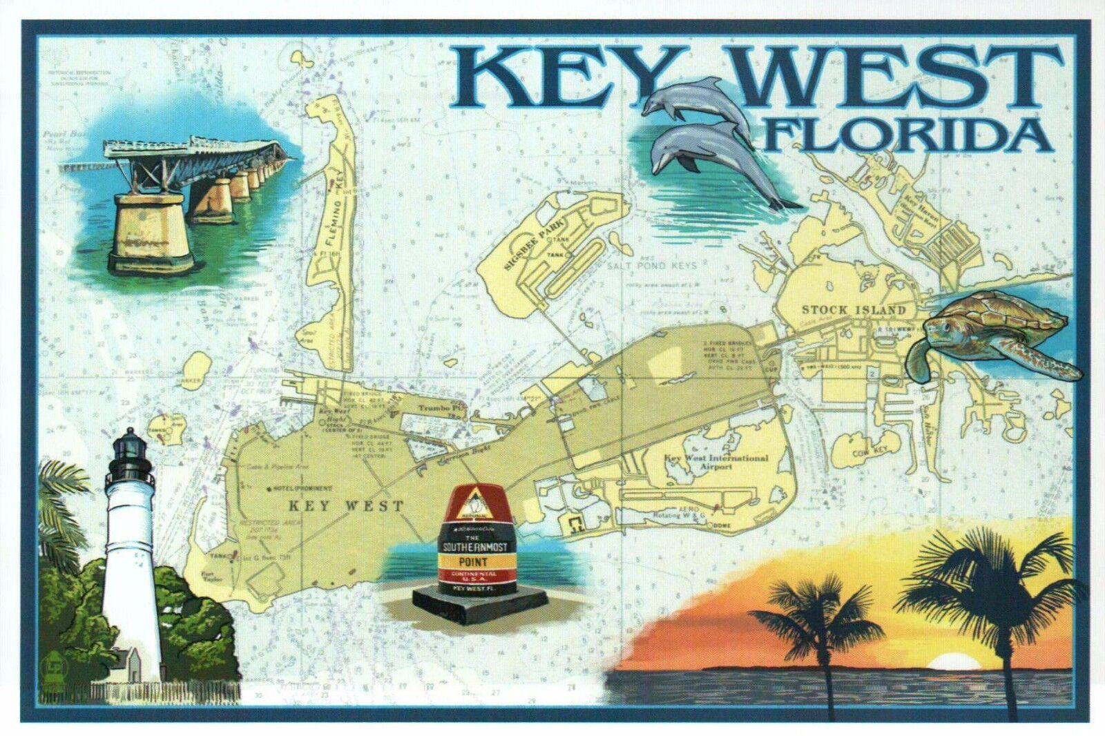 Image 1 - Key West Nautical Chart, Florida, Map, Lighthouse, FL Keys Bridge etc - Postcard