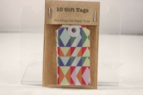The Magnolia Paper Tree Multi Coloured Geometric Tags x 10