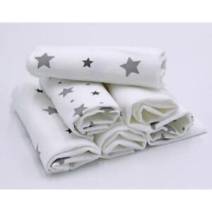Mulltücher 5erSet Sterne Waldtiere 100/% Baumwolle Spucktücher Mullwindeln Typ486