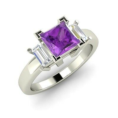 0.64 Carat Princess Cut Natural Amethyst and VS Diamond Ring in 14K White Gold