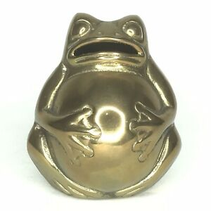 Rare-Fat-Bellied-Brass-Frog-Money-Box-Antique-Vintage-Ornament