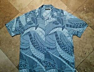 Cubavera-Button-Front-Short-Sleeve-Shirt-Viscose-Rayon-Floral-Blue-XL-Mens