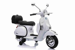 MOTO-ELETTRICA-PER-BAMBINI-VESPA-PIAGGIO-PX-150-12v-CON-BAULE-ROTELLE-FULL