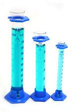 Borosilicate Glass Graduated Cylinder Set 10ml 50ml 100ml With Plastic Guards