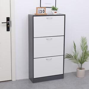 AVC-Designs-3-Drawer-Shoe-Storage-Cupboard-Cabinet-Rack-Grey-amp-White-Warranty