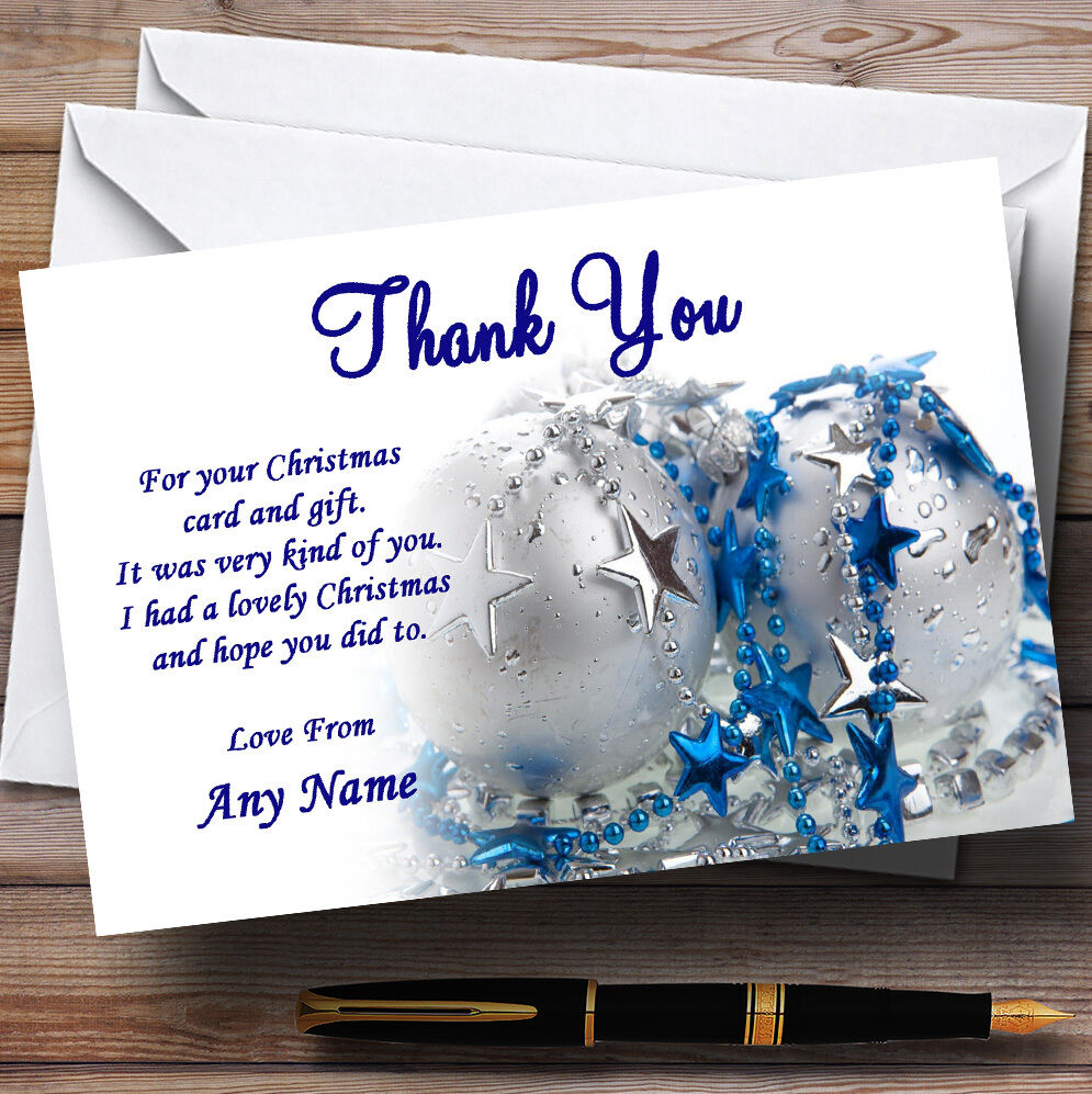 Blau And Weiß Personalised Christmas Party Thank You Cards