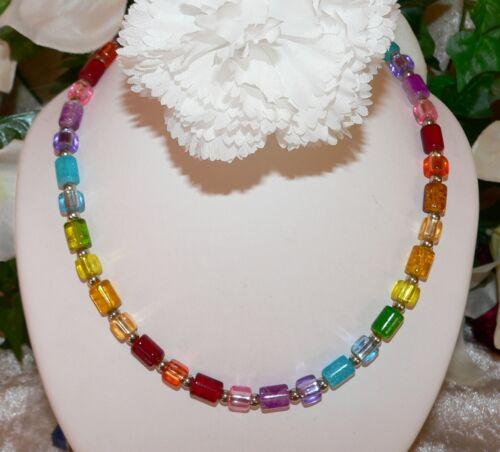 Collar cadena vidrio laminado Crash cubo plata sangría multicolor multicolor multi 101o