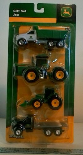 JOHN DEERE 1//64TH SCALE 4 PIECE GIFT SET WITH TRUCKS AND TRACTORS ERTL  37685