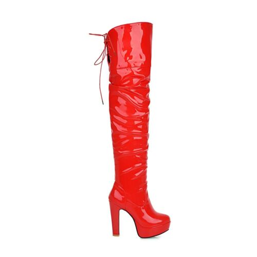Womens Shoes Synthetic Leather Platform High Heels Over Knee Boots US Size b121