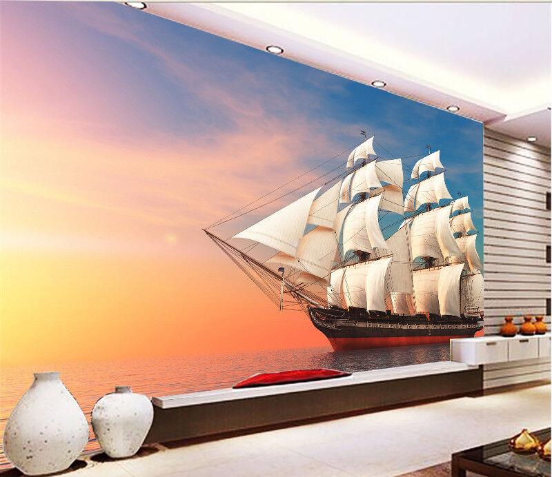 3D Boat Sunset 412 Wallpaper Murals Wall Print Wallpaper Mural AJ WALL UK Summer