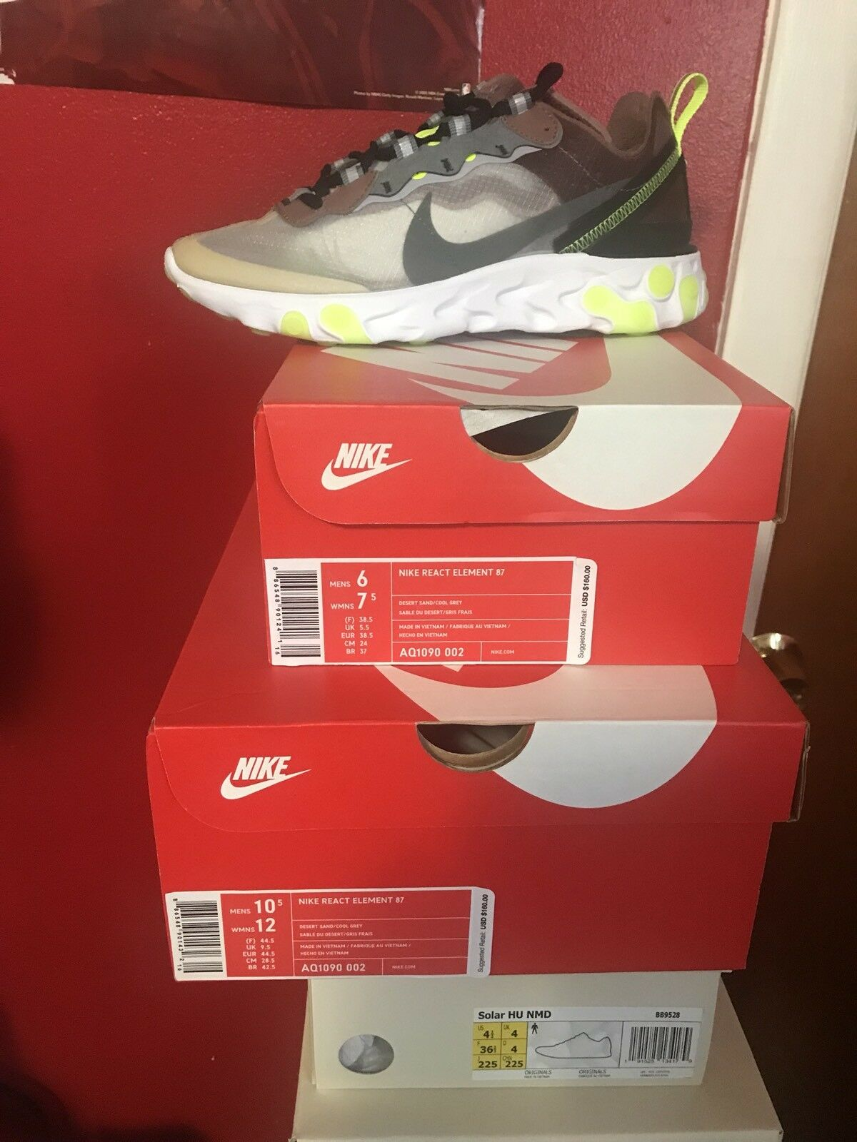 Brand New Nike REACT ELEMENT 87 Desert Sand Cool Grey Brown AQ1090 002 Size 6