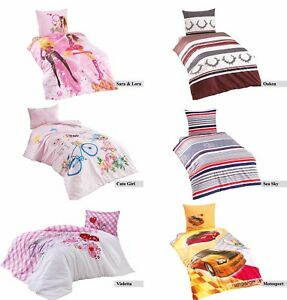 2-tlg-Bettwaesche-Bettgarnitur-Baumwolle-135-x-200cm-Kinderbettwaesche-Jugend