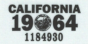 Details about 1964 CALIFORNIA Vinyl Sticker License Plate Reg TAB -  CAR-TRUCK-MOTORCYCLE - NEW