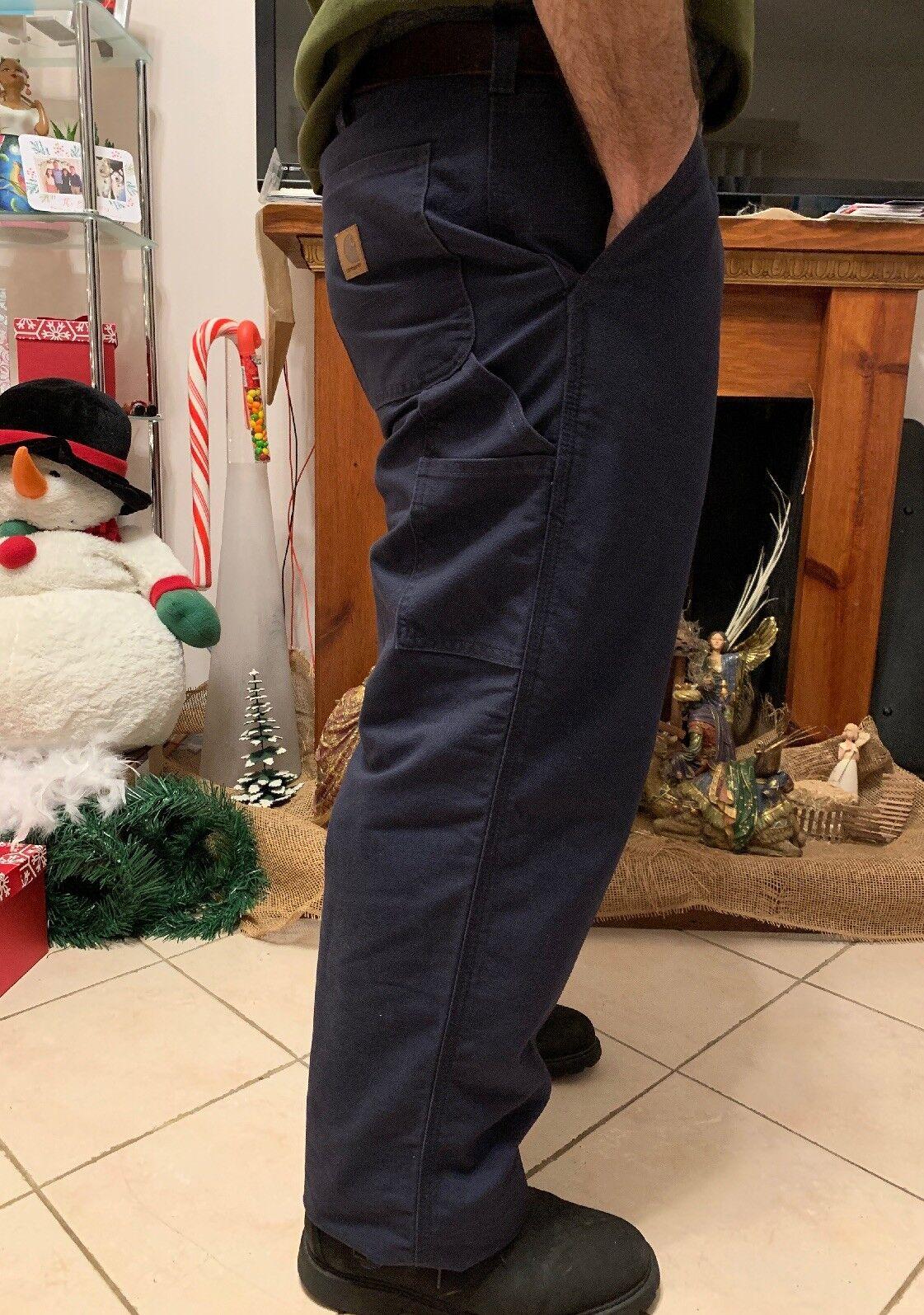 NEW Carhartt Navy bluee Carpenter Work Pants Soft Canvas Denim Men Size 34X28