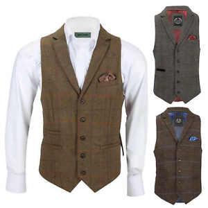 Chaleco-para-Hombre-Tweed-Cuadros-Retro-espiga-con-Cuello-Inteligente-Formal-ajustado-fitvest