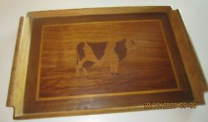 Beautiful-Teak-Wood-Handled-Serving-Tray-with-Inlay-design-of-a-Cow-19-034-x-12-034